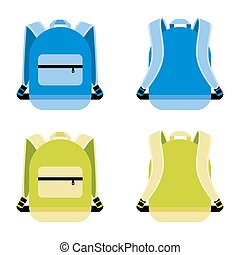 Schoolbag icon set. Satchel and container, daily portable...