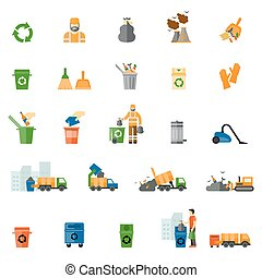 Garbage and trash flat icons set Trash export and recycle,...