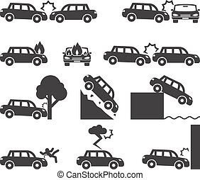 Car crash and accidents icon set. Cliff down move, fatal...