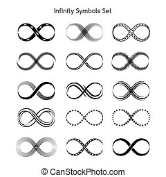 Set of infinity symbols Eternity and infinite, arrow and...
