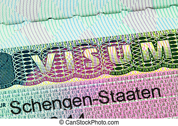 Closeup of the Schengen visa to Austria, Germany with...