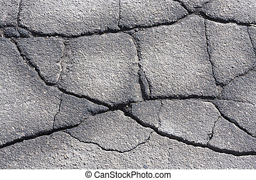 cracked asphalt - cracked semiwet asphalt with multiple...