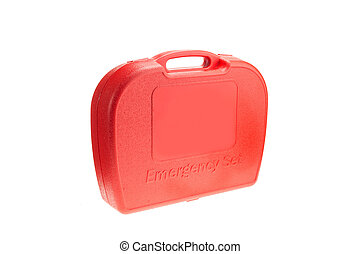 Red box of emergency set isolated on white