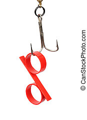 Percent Bait - Red percent symbol hanging on a hook as a...