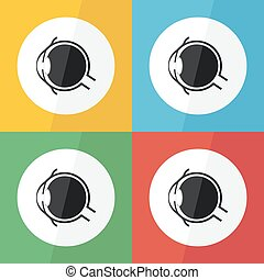 Eye icon ( Flat design ) for eye care , disease concept (...