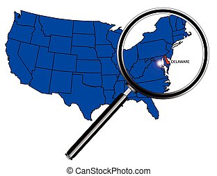 Delaware state outline set into a map of The United States...