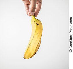 Hand hold peeled banana - Picture of a Hand hold peeled...