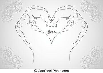 Elegant hand-drawn mudra. Isolated vector illustration...