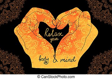 Element yoga mudra hands with mehndi patterns. Vector...