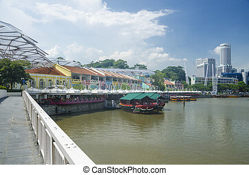 A vibrant and colorful city clark quay in Singapore