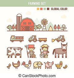 farming and agriculture infographic elements for kid