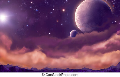 distant sky - view of the planets from the earth in the...
