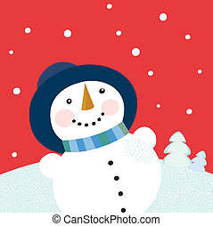 Christmas holiday background with snowman