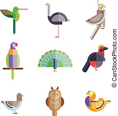 Flat birds made from geometric figures vector