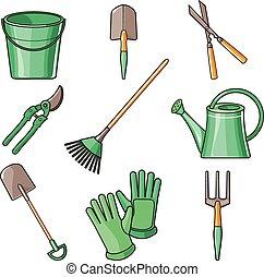 Garden Tools Flat Design illustration - Set of various...