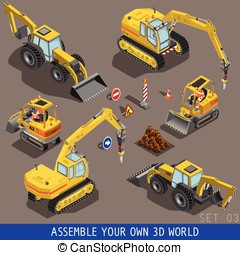 City Construction Transport Isometric Flat 3d Icon Set -...