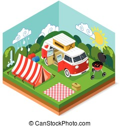 Isometric Picnic Summer Time - Happy Summertime. Stylish...