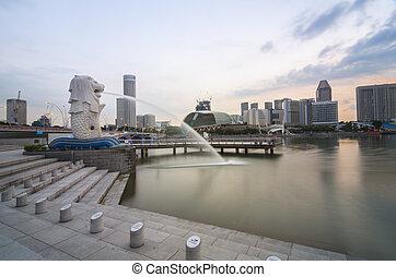 cuerpo, cabeza, pez, MERLION, personificación, singapur,...