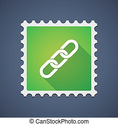 Green mail stamp icon with a chain - Illustration of a green...