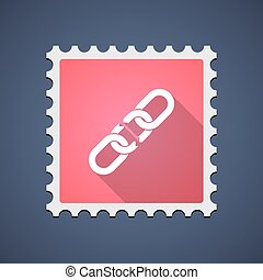 Red mail stamp icon with a chain - Illustration of a red...