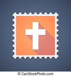 Orange mail stamp icon with a cross