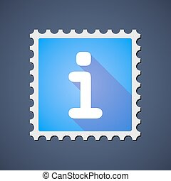 Blue mail stamp icon with an info sign
