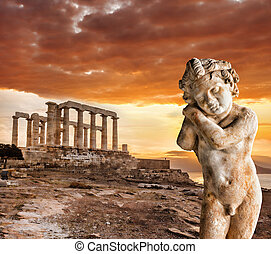 Greek temple Poseidon, Cape Sounion in Greece - Famous Greek...