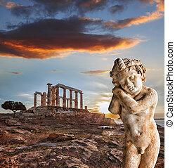 griego, templo, Poseidon, capa, Sounion, en, grecia,