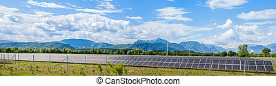 Solar power station - Udine,Italy - 24 May 2015 : Landscape...