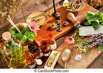 Natural medicine - Ancient natural medicine, herbal, vials...