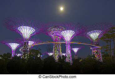 SINGAPORE -MAY12: Futuristic view of amazing illumination at...