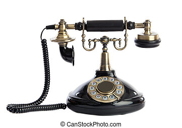 Old vintage black phone a over white background