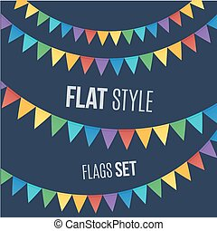 Rainbow colors flat style holiday flags garlands set on dark...