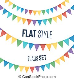 Rainbow colors flat style holiday flags garlands set on...