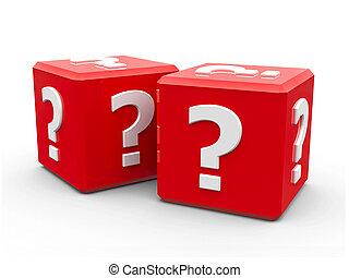 立方体, 質問, 赤, 印