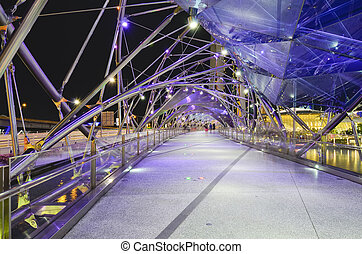 SINGAPORE - MAY 12: The Helix Bridge on May 12, 2014 in...