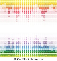 Rainbow digital equalizers on white background