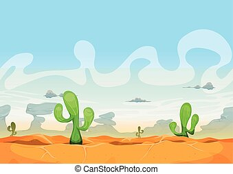 Seamless Western Desert Landscape For Ui Game - Illustration...