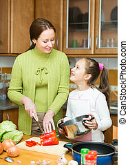 Mother with daughter cooking at kitchen - Mother with...