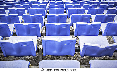Blue sports arena seats