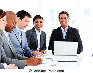 Business group showing ethnic diversity in a meeting...