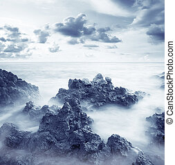 sea coast - sea coats and sky in Crimea, beach in Crimea