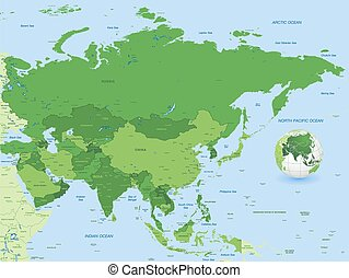 Full Asia Green Vector Map - High detail vector illustration...