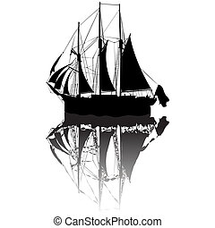 Sailing boat sketch - Sailing boat silhouette view from a...
