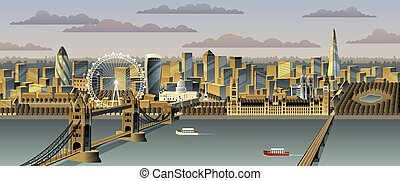 London cityscape. No transparency used. Basic (linear)...