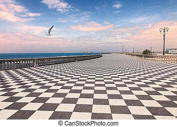 Promenade of Livorno, Tuscany, Italy - Mascagni Terrace at...