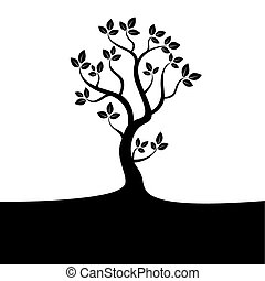 Black tree on white background