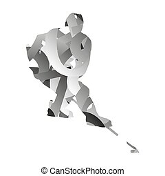 Abstract monochromatic ice hockey player