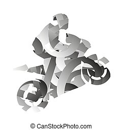 Abstract monochromatic vector moto rider