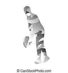 Abstract monochromatic tennis player